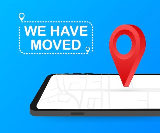 Ci siamo trasferiti. segno dell'ufficio in movimento.
