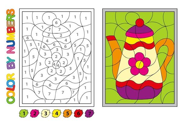 Dipingiamo con i numeri. gioco di puzzle per l'educazione dei bambini. numeri e colori per disegnare e imparare la matematica. teiera vettoriale