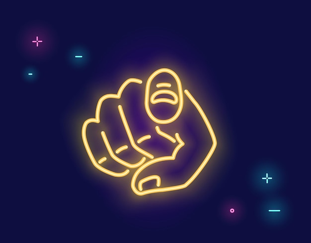 Vogliamo la tua mano umana con il dito che indica o gesticola verso di te in stile luce al neon