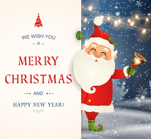 Vi auguriamo un buon natale. felice anno nuovo. carattere di babbo natale con grande cartello. buon babbo natale con campanellino. cartolina d'auguri di festa con la neve di natale. illustrazione isolata.