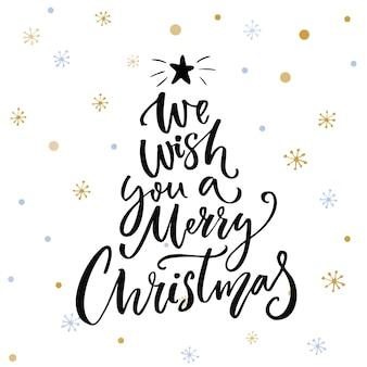Vi auguriamo un buon natale iscrizione calligrafica decorata su sfondo bianco con fiocchi di neve