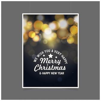 Vi auguriamo un buon natale e un felice anno nuovo molto felici. sfondo nero incandescente poster