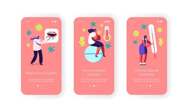 Modello di schermata integrato della pagina dell'app mobile del sistema immunitario debole