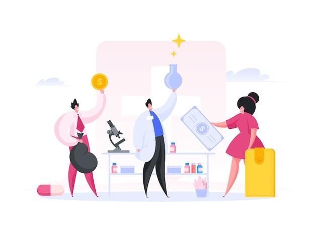 Ricchi investitori di sesso femminile e maschile che donano denaro a scienziati di successo per la ricerca e la produzione di nuovi farmaci in laboratorio durante la campagna di crowdfunding.