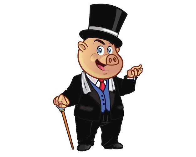 Mascotte dei cartoni animati di wealthy millionaire pig