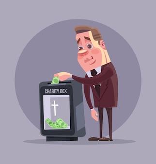 Carattere di uomo d'affari politico ricco che fa donazione. illustrazione di cartone animato piatto