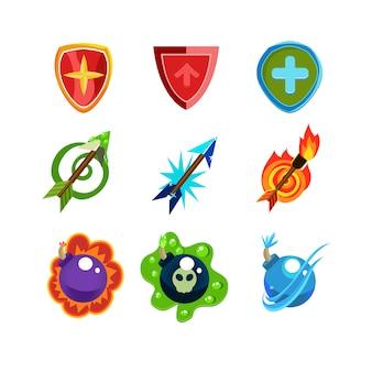Set di icone di armi e scudo per giochi