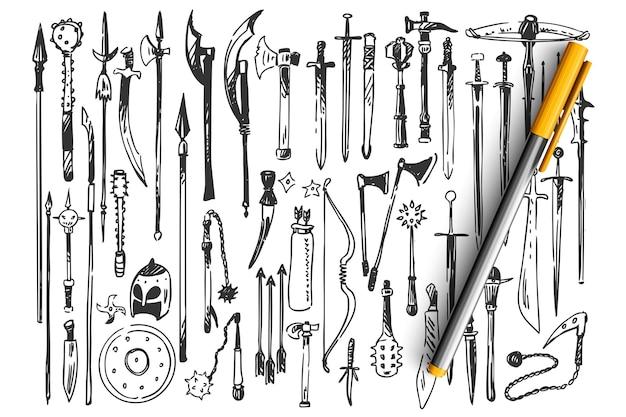 Insieme di doodle di armi