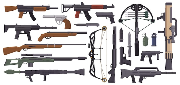 Armi pistole armi militari pistola balestra coltelli granata mitragliatrice arma da fuoco automatica vettore