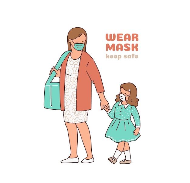 Indossare la maschera madre e bambino che indossano una copertura di protezione medica