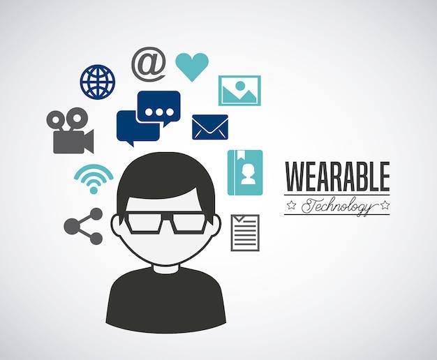 Design tecnologia indossabile, illustrazione grafica vettoriale eps10