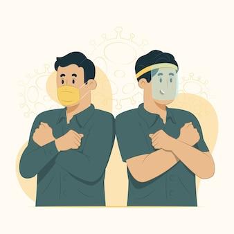 Il concetto di maschere da indossare previene l'illustrazione di rimbalzo epidemico