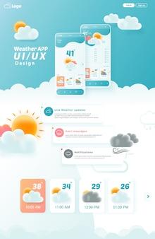Elementi del kit ui / ux dell'app meteo, pagina di destinazione del sito web