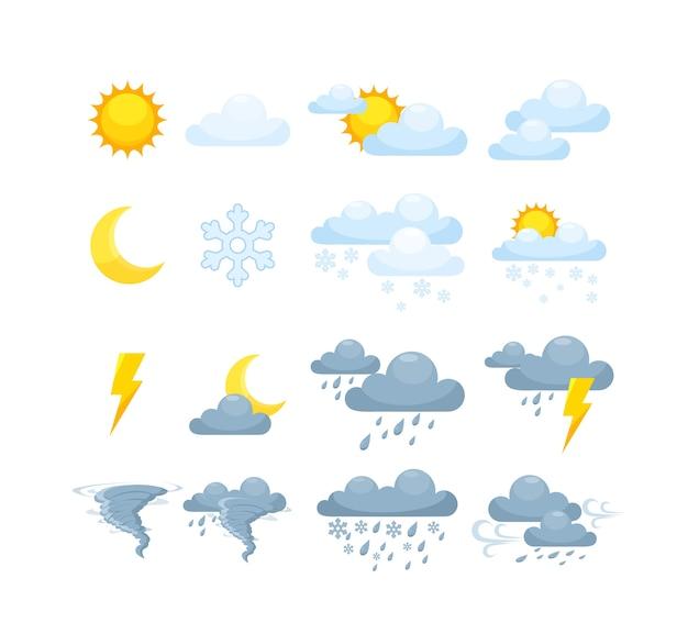 Condizioni meteo display del telefono giorno soleggiato, piovoso, nuvoloso temporale.