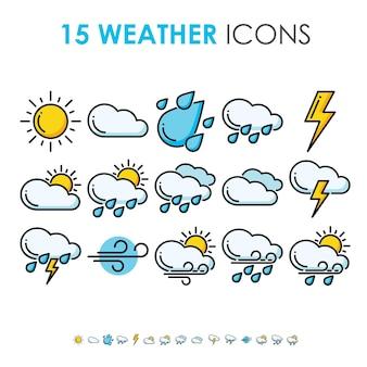 Previsioni del tempo e raccolta del clima nel set di icone a linee spesse