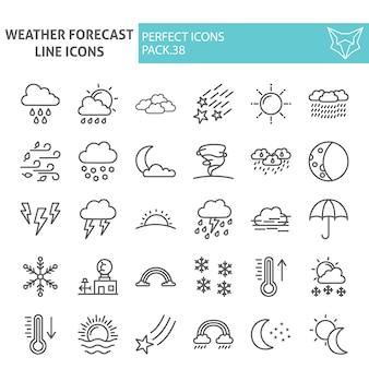 Insieme dell'icona di linea di previsioni del tempo, raccolta del clima