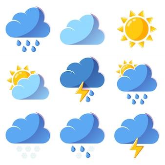 Icone colorate di vettore di previsione delle icone del tempo messe