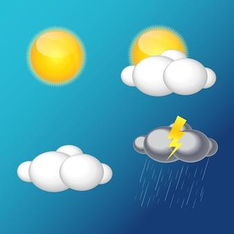 Icone meteo con sole, nuvole, pioggia vector illustration