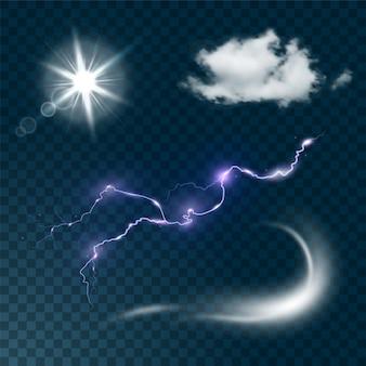 Insieme realistico del tempo isolato sull'illustrazione trasparente scura del fondo. nuvola realistica, bagliore del sole, vento e fulmini.