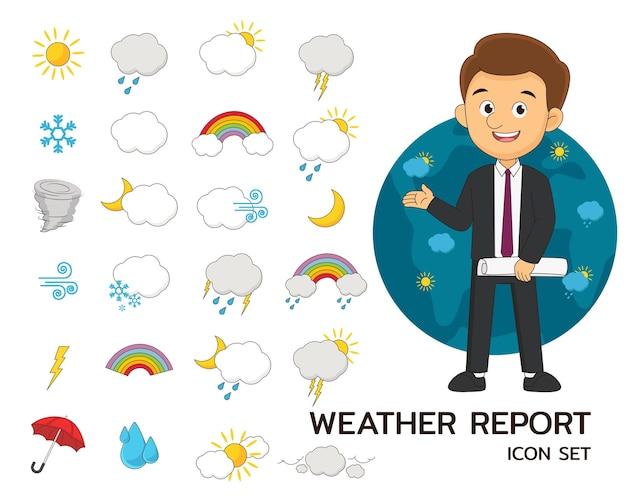 Icone piane di concetto di bollettino meteorologico