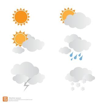 Disegno di stagione del tempo, sole con nuvole e neve