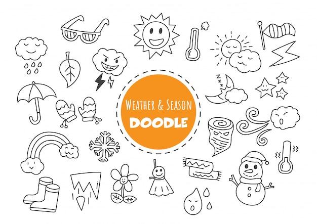 Meteo e stagione doodle kawaii
