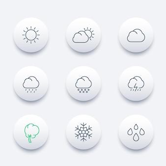 Meteo, giorno soleggiato, nuvoloso, pioggia, grandine, neve, vento, set di icone moderne di linea rotonda, illustrazione vettoriale