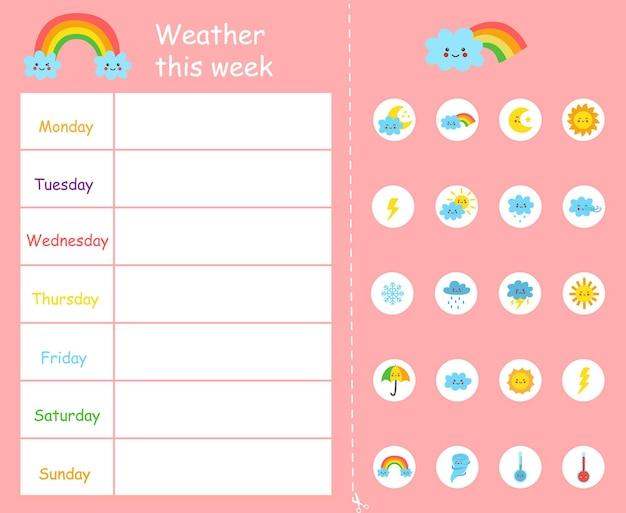 Meteo questa settimana modello per bambini. grafico del tempo.
