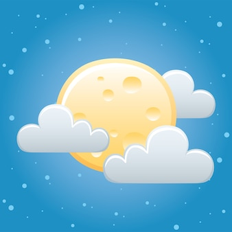 Meteo luna intera nuvole cielo notte
