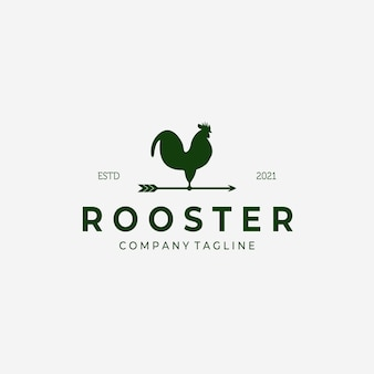 Weathervane rooster logo vintage vector design illustrazione, icona gallo, farm fresh, bestiame company