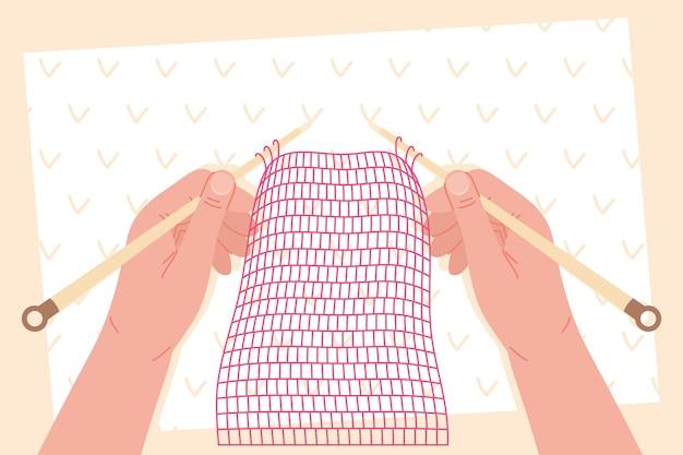 Progetto fatto a mano di tessitura delle mani