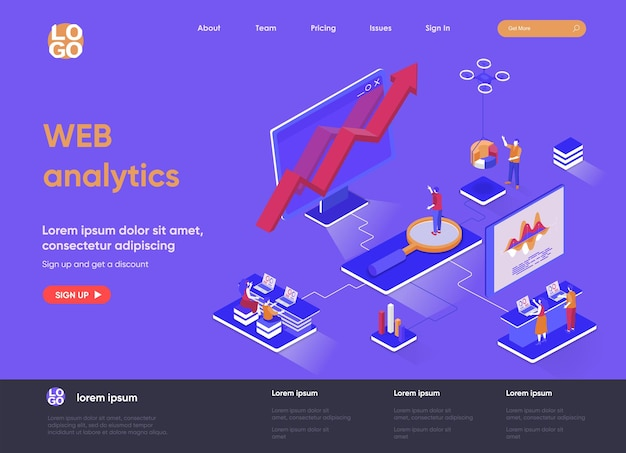 Web analytics 3d isometrico landing page website illustration with people characters