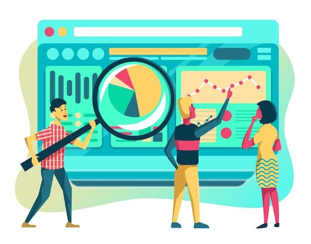 Illustrazione di web analytics, analisi del report aziendale per aiutare a prendere la decisione migliore.
