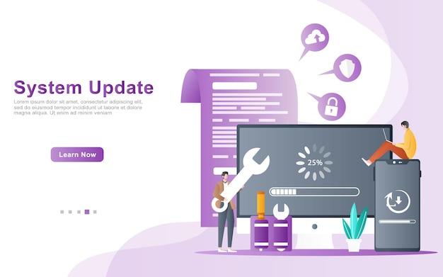 Il team di sviluppo di applicazioni e web ei programmatori eseguono l'illustrazione degli aggiornamenti di sistema