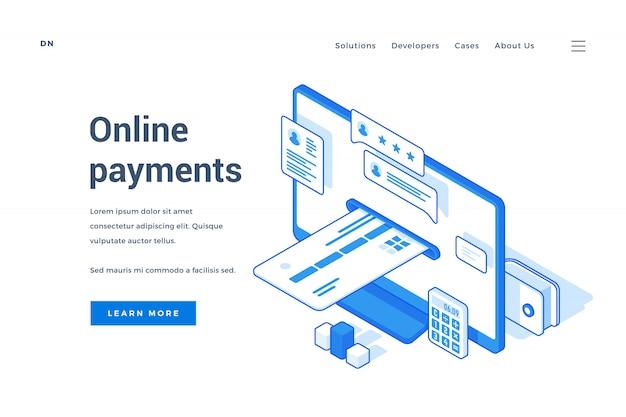 Banner web per un servizio di pagamenti online contemporaneo Vettore Premium