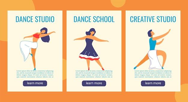 Banner web storie di instagram personaggi dei cartoni animati per studio di danza.