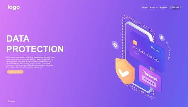 Concetto isometrico di protezione dei dati personali del banner web sicurezza informatica e privacy