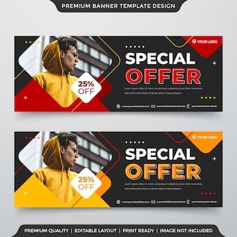 Modello di banner web design con astratto e stile