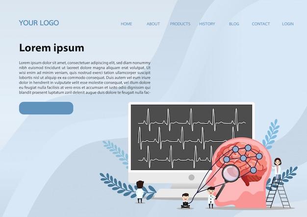 Modello di banner web. ictus cerebrale umano.