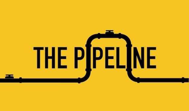 Modello di banner web sfondo industriale con conduttura gialla oleodotto o gasdotto w