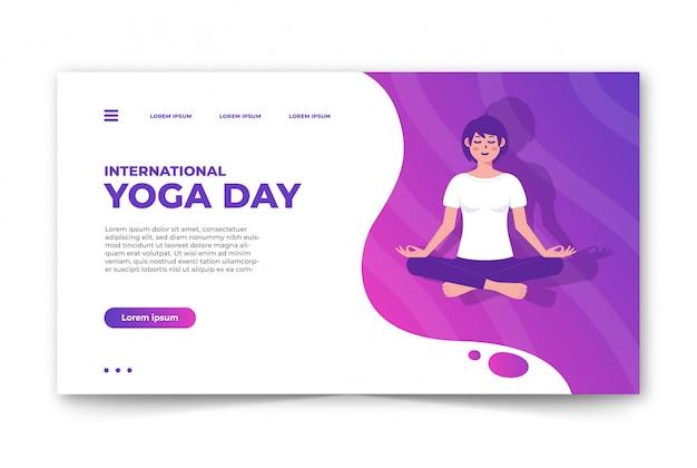 Giornata internazionale di yoga del modello dell'insegna di web