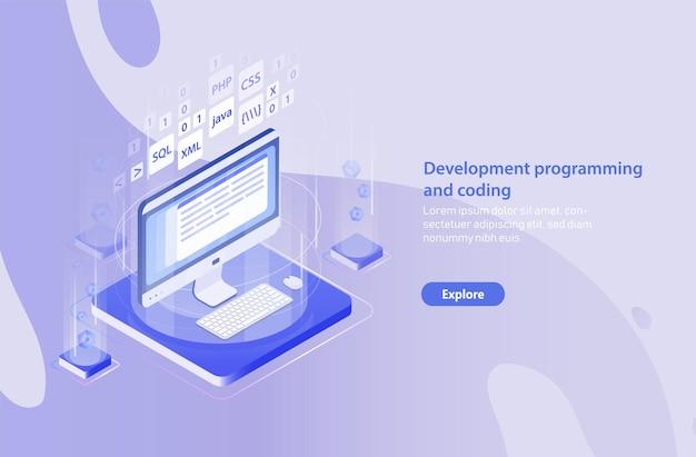 Modello di banner web con computer, tastiera, tappetino per mouse