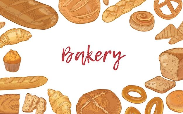 Modello di banner web con cornice composta da vari tipi di pane e prodotti da forno dolci fatti in casa e posto per il testo