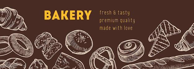 Modello di banner web con gustosi pani e prodotti da forno freschi disegnati a mano con linee di contorno