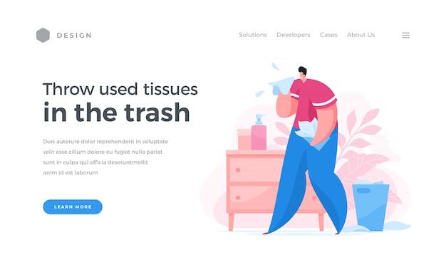Banner web per l'utilizzo dei tessuti usati in caso di malattia Vettore Premium