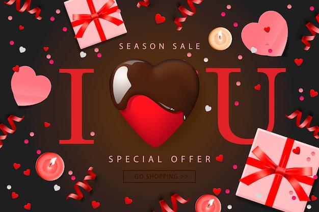 Banner web per la vendita di san valentino. composizione con cuore di cioccolato, confezione regalo, coriandoli e stelle filanti, illustrazione vettoriale.