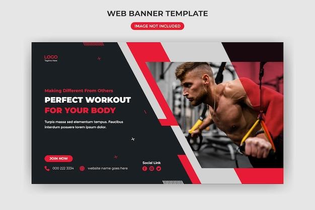 Banner web e copertina del sito web modello di post sui social media per palestra fitness