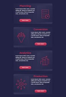 Banner web con icone di linea di business, disegno vettoriale