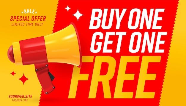 Banner web con megafono che annuncia paghi uno prendi due gratis.