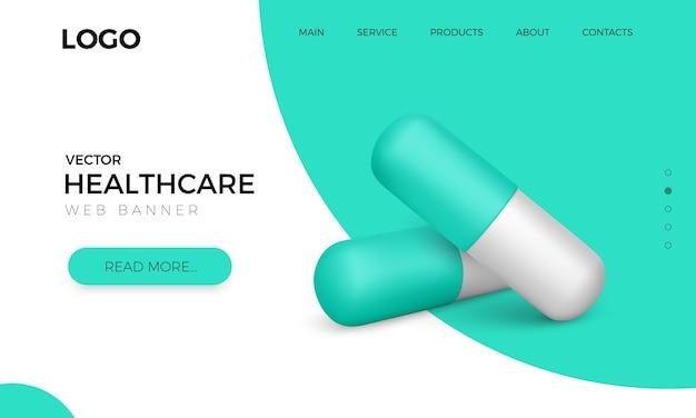 Banner web con pillole capsule verdi realistiche